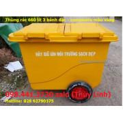 Thùng rác 660 lít màu vàng 3 bánh đúc