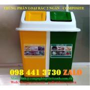 Thùng phân loại rác 2 ngăn composite