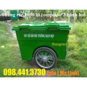 Xe đẩy rác 1000 lít 3 bánh hơi nhựa composite