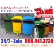 Thùng rác 3 ngăn mái che composite