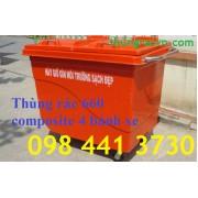 Xe đẩy rác composite 660 lít 4 bánh đặc giá khuyến mãi