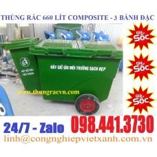 Xe đẩy rác composite 660 lít 3 bánh giá rẻ