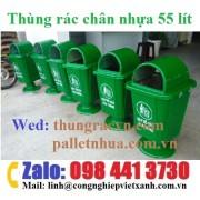 Thùng rác chân nhựa 55 lít composite