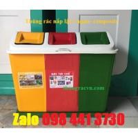 Thùng rác phân loại 3 ngăn nắp lật composite