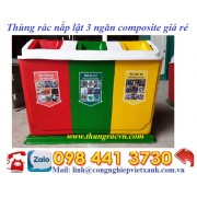 Thùng rác  3 ngăn nắp lật composite giá rẻ mẫu mới