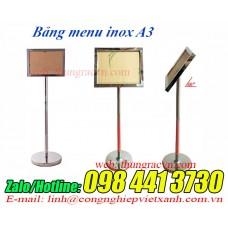 Cột bản menu chỉ dẫn inox A3