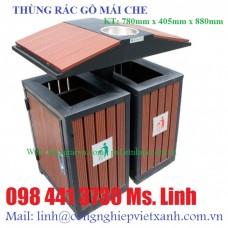 Thùng rác gỗ 2 ngăn mái che gạt tàn