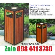 Thùng rác gỗ gạt tàn hình vuông
