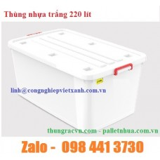 Thùng nhựa trắng 220 lít