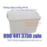 Thùng nhựa trắng 90 lít