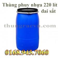 Thùng phuy nhựa 220 lít có đai sắt