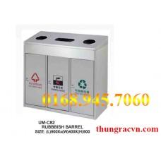 Thùng rác inox vuông 3 ngăn UM-C82