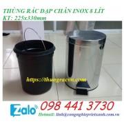 Thùng rác đạp chân inox  8 lít