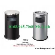Thùng rác inox có gạt tàn thuốc A35-N