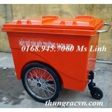 Thùng rác 660 Lít 3 bánh hơi Composite