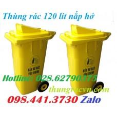 Thùng rác 120 lít nắp hở màu vàng