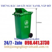 Thùng rác 240 Lít nắp hở  màu xanh
