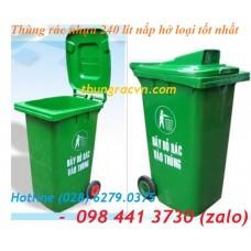 Thùng rác 240 lit nắp hở màu xanh loại tốt