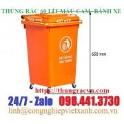 Thùng rác 60 lít  màu cam- có bánh xe