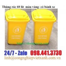 Thùng rác 60 lít  màu vàng- có bánh xe