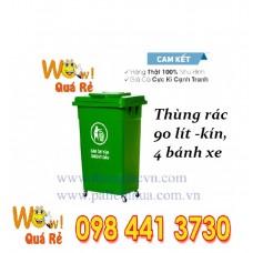 Thùng rác nhựa 90 lít nắp kín,không bánh xe