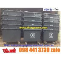 Thùng rác nhựa 660 lít màu đen y tế