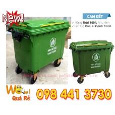 Thùng rác nhựa 660 lít màu xanh