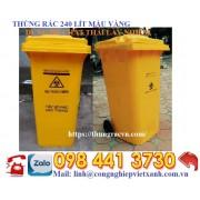 Thùng rác 240 lít màu vàng dùng để chất thải lây nhiễm nhựa HDPE