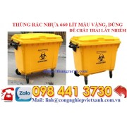 Thùng rác nhựa 660 lít màu vàng dùng để rác thải lây nhiễm y tế