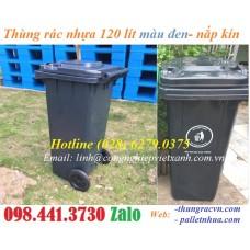 Thùng rác nhựa màu đen 120 lít