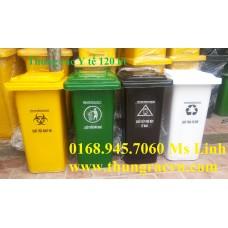 Thùng rác y tế 120 lít màu vàng