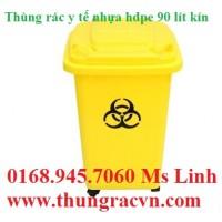 Thùng rác y tế composite 90 lít vàng