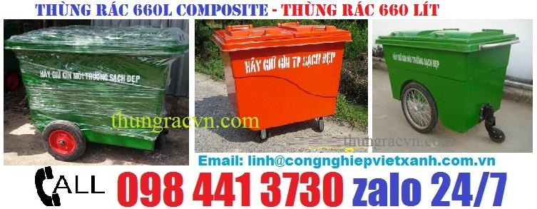 Thùng rác nhựa 660 lít composite khuyến mãi