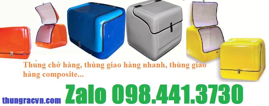 /><br /><br />Thùng chở hàng của Công ty chúng tôi được thiết kế theo yêu cầu của quý khách hàng, kích thước phù hợp và giá thành cạnh tranh nhất trên thị trường.<br />Thông số và đặc tính kỹ thuật thùng chở hàng lớn:<br />- Kích thước: D470xR470xH470mm,D500xR480xH500mm, D600xR500xH630mm, D710xR640xH505mm, D800xR650xH650mm</h4> <h4>- Màu sắc: xanh dương, xanh lá, đỏ, vàng, cam, ... ( theo yêu cầu của khách hàng)<br />- Chất liệu nhựa composite cốt lỗi sợi thủy tinh chống cháy và va đập tốt</h4> <h4>- Hàng gia công tay, Xuất xứ cty Việt Xanh</h4> <h4>- Bảo hành 06 tháng theo tiêu chuẩn sản xuất.</h4> <h4>- Độ dày : 2.5 đến 3 ly<br />- Công dụng: được thiết kế thuận tiện cho việc chở hàng tiện dụng, kiểu dáng công nghiệp, sử dụng cho các công ty Thuốc lá, Cà phê, Thực phẩm, Hoá mỹ phẩm, Chuyển Phát nhanh, Cửa hàng thức ăn nhanh, …</h4> <h4><a rel=