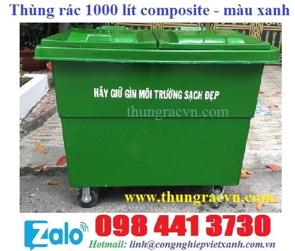 www.123nhanh.com: Xe đẩy rác 1000 lít composite 4 bánh