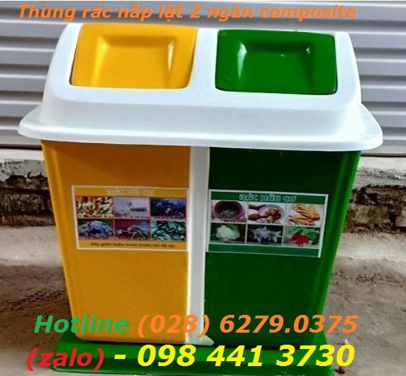 /></h4> <h4>Thùng rác phân loại 3 ngăn nắp lật composite<br />- Nguyên liệu: nhựa Composite, có thùng đựng rác tôn bên trong.<br />- Kích thước tổng thể: 820 x 620 x 950mm<br />- Kích thước thùng chứa: 520 x 280 x 600mm<br />- Dung tích: 60 lít x 3<br />- Màu sắc: theo yêu cầu<br />- Hàng mới 100%<br /><a rel=