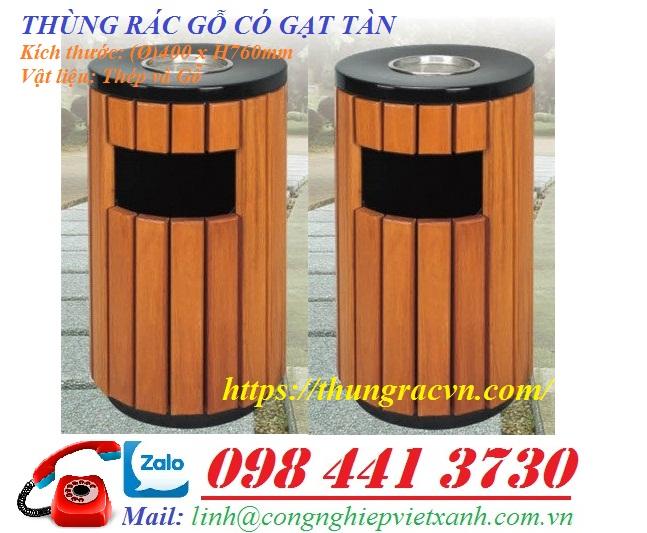www.123nhanh.com: Thùng rác gỗ tròn có gạt tàn