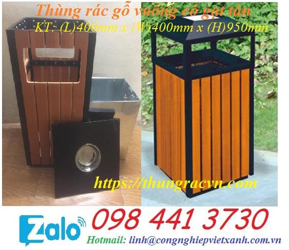 www.123nhanh.com: Thùng rác gỗ vuông có gạt tàn