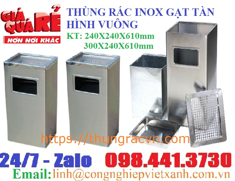thùng rác inox gạt tàn vuông