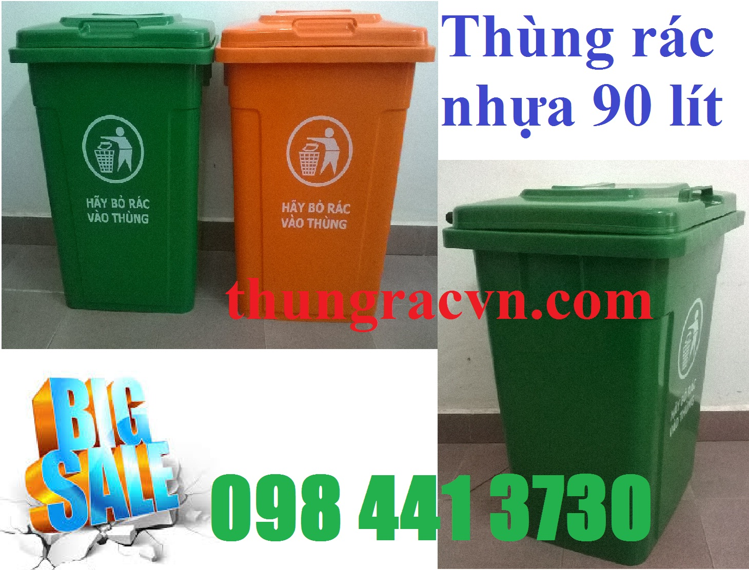 thùng rác 90 lít kín