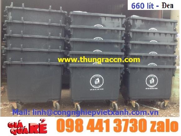 Xả hàng thùng rác 660L màu xam-đen giá sốc