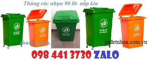 www.123nhanh.com: Thùng rác nhựa 90 lít nắp kín